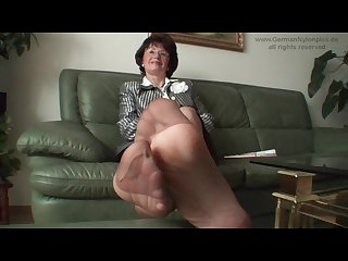 Aunty s smelly nylon feet in my face