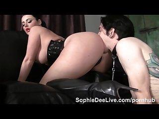 Sub male slave eats sophie dee s ass