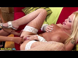 Busty blonde milf fisted after masturbation