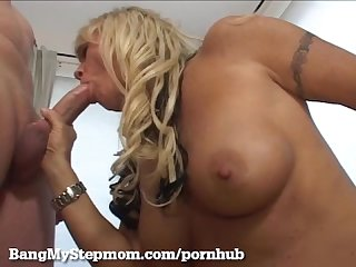 Mature blonde hooks up with stepson