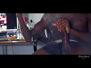 Muscle stud bbc stroking and smoking cums twice