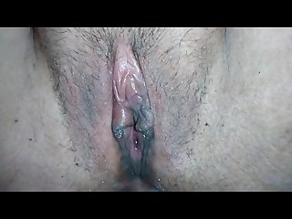 Queef after creampie close up hairy cameltoe milf pussy fucked