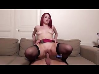 French redhead milf rides a dick hard