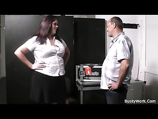 Horny boss fucks women in fishnets at work