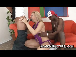 Starla sterling blonde bitch boned by two big black bangers