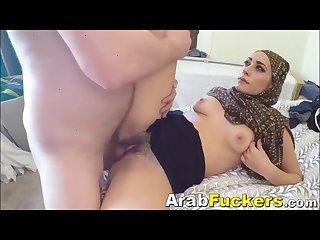 Poor middle eastern whore desperate for cash sucks big white cock