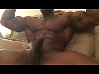 Black Muscle man Jacking off cumming