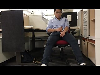 Chinese singaporean guy jerking off at office