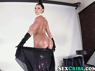 Kendra lust suck rides a hard fat cock with her round juicy oiled ass