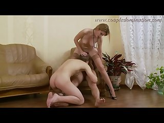 Coupledomination slave gets straponed while sucking thick dick