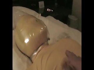 Zentai plastic bag breath play