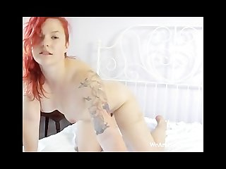 Redhead jette enjoys playing with her hairy pussy