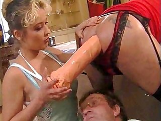 German tranny gets double fisted by nurse and friend