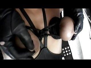 Leather gloved lesbian nipple torture pt1