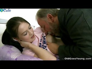 Very hot babe seduced by old guy
