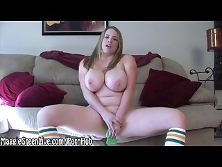 All natural maggie green plays with bright green sex toy