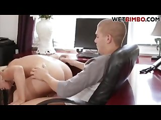 Busty blond stepmom fucks stepson while hubby is on phone