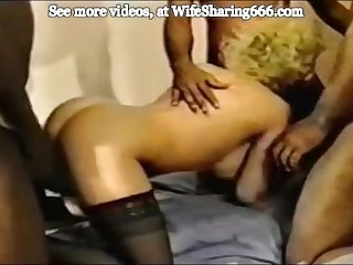 Slut wife used completely and filled with cum by two bbcs