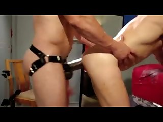 Fucked by huge strap on dildo