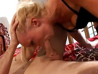 Two gorgeous girls take care of a lucky guy S dick
