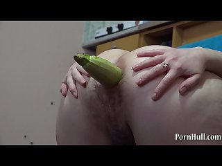 Young brunette ass fuck eggplant and Zucchini gaping ass