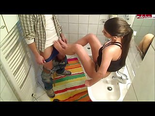 Turkish german girl gives a footjob