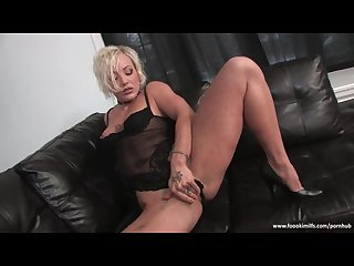 Slutty blonde whore enjoys solo fun