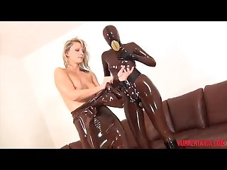 Rubber Tanja in rubber doll play with lesbian