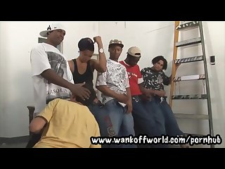 5 black thugs gangbang local boy in abandoned warehouse