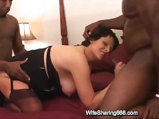 Pregnant mature wife fucked in all holes by two rough bbcs