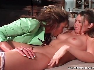 Busty milf seduces hot skinny brunette