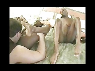 Gorgeous ebony Twins and 1 lucky dude