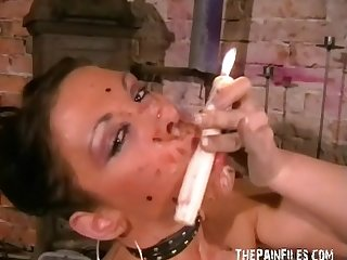 Kinky crystels hot wax punishment and self torturing bdsm of English fetish
