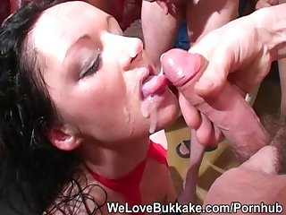 Chubby english milf deepthroats lots of cock and takes facials