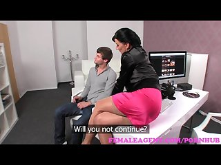 Femaleagent milf catches stud wanking and takes full advantage of him