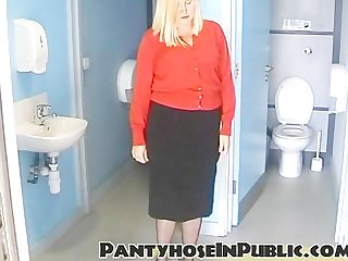 Slut wife in black stockings in public toilets out dogging