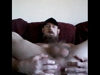 Redneck daddy shows asshole jerks off until he cums