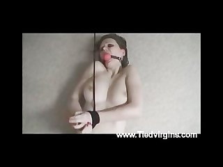 Teen slut bound and made to cum
