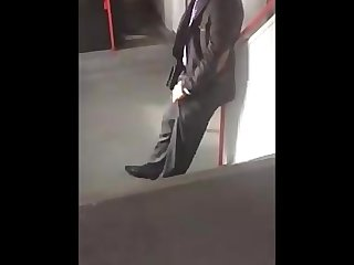 Gorgeous french suit guy pocket wank on Train