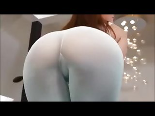 Hot brunette milf shaking twerking her big ass in see through yoga pants