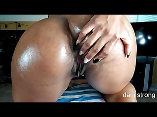 hot ebony MILF oils her ass and begs for CREAMPIE FREE