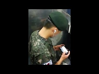 Spy Cam_Korean soldier caught jerking off in public toilet