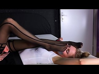Blondes give each other pantyhose smelling