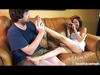 Cute amateur has her feet worshipped