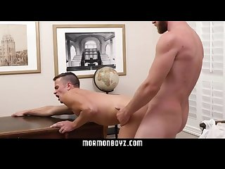 Mormonboyz young Missionary boy barebacked by bearded priest