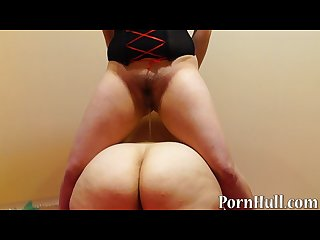 Brunette fucks plump ass sex toy and fatty pissing