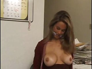 Sexy tied and gagged secretary waiting for her lover