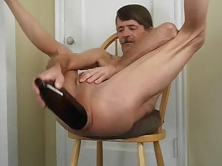 Extreme anal insertion and a huge bottle fuck
