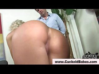 Cuckold husband licks cumshot