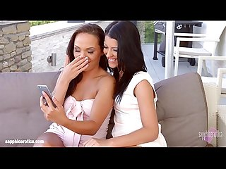 Vivien bell and angelina wild in selfies and kisses lesbians by sapphix